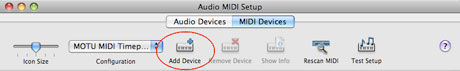 Audio MIDI Setup Add Device