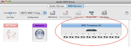 Audio MIDI Setup USB MIDI Interface